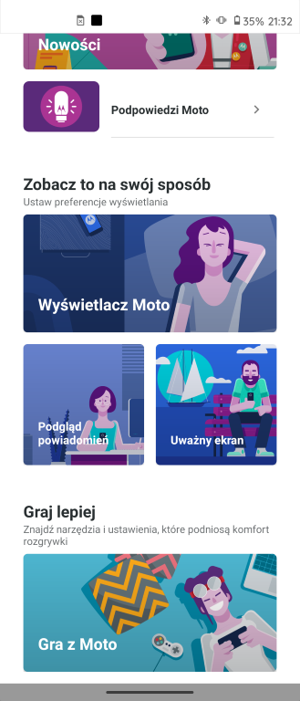 Opcje od Motoroli znajdziemy pod ikoną Moto
