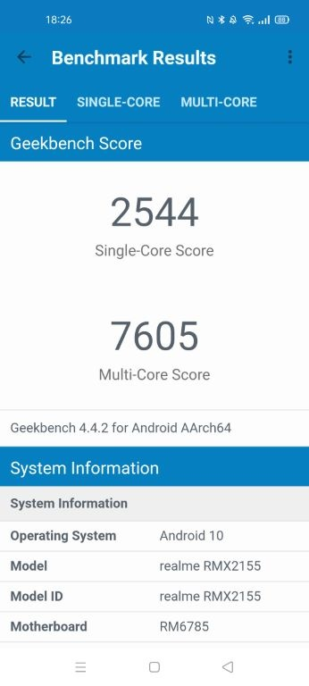 realme 7 - wynik w Geekbench 4