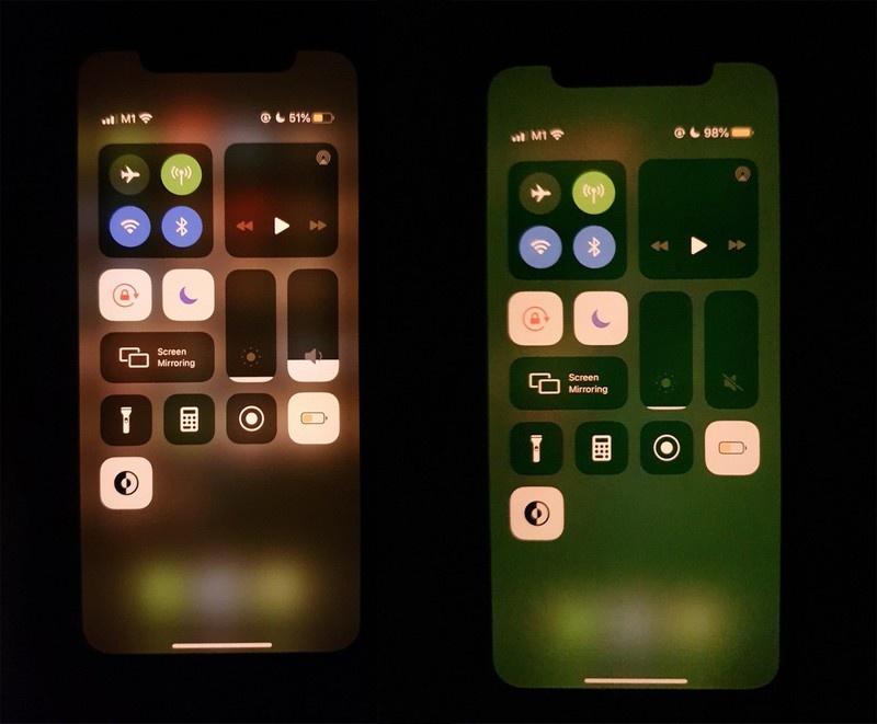 Problem w najnowszej wersji iOS czyni ekran zielonym (źródło:forum Macrumors)