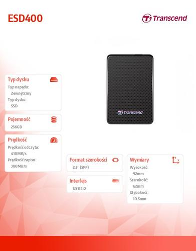 Transcend SSD 256GB USB3.0 ESD400K 410/380