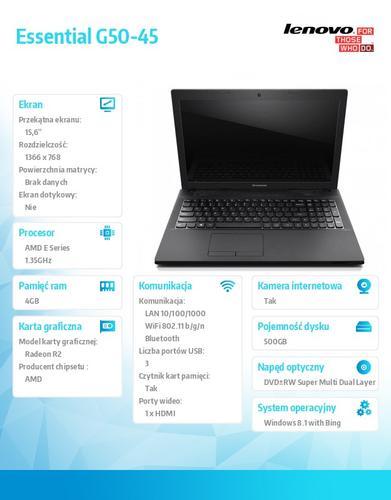 "Lenovo G50-45 80E3015RPB Win8.1 Bing E1-6010/4GB/500GB/15.6"" Silver"