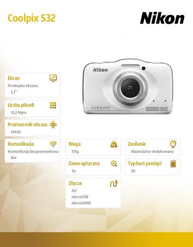 Nikon Coolpix S32 biały, 13,2MPx, 3xOZ,