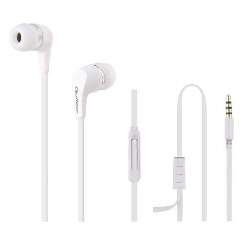 Qoltec Słuchawki douszne + mikrofon | białe