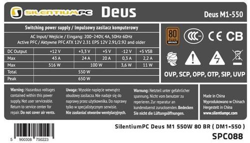 SilentiumPC Deus M1 550W PSU 80Plus Bronze Modular 4xPEG