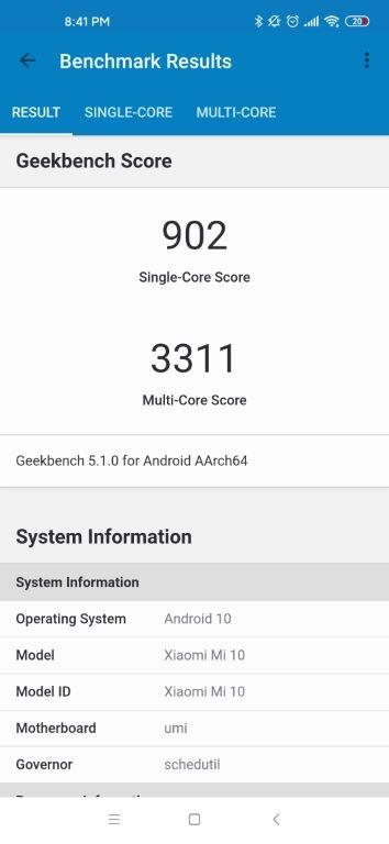 Xiaomi Mi 10 - rezultat w Geekbench 5