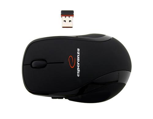 ESPERANZA Mysz, Bezprzewodowa 2,4 Ghz, Optyczna 1000 DPI, USB, 5D - 5 Przycisków, Gumowana - EM112