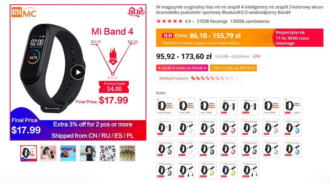 Xiaomi Mi Band 4 potrafi kosztować w Polsce nawet 2 razy więcej