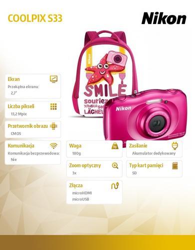 Nikon S33 pink + bag