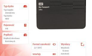 Western Digital Passport WDBZFP0010BBK 1TB 2,5'' USB 3.0 - czarny