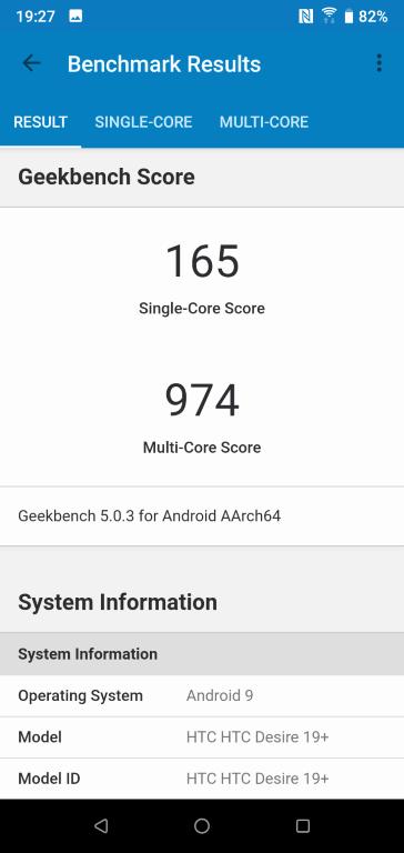 HTC Desire 19+ Geekbench