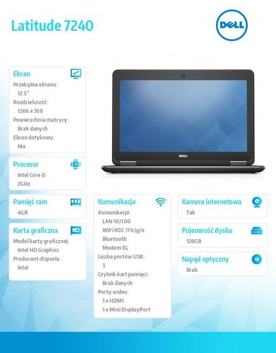 Dell Latitude E7240 W78.1P (lic 64-bit Win8, nosnik) i5-4310U/128SSD/4GB/HD4400/4cell/12,5 HD/Backlit/3Y NBD/WWAN