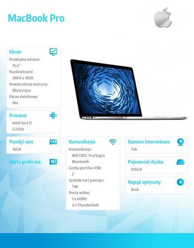 Apple MacBook Pro 15.4/2.2GHz i7/16GB/256GB/IR MGXA2PL