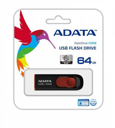 A-Data Dashdrive C008 64GB USB Black-Red