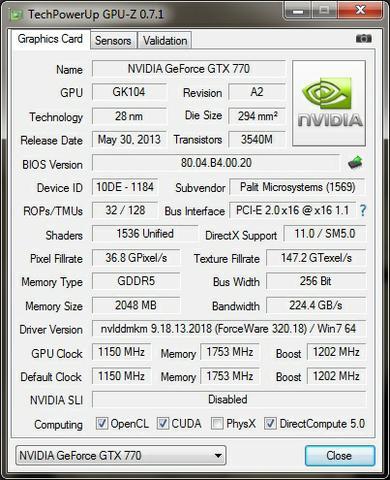 Palit GTX770 JetStream GPU-Z