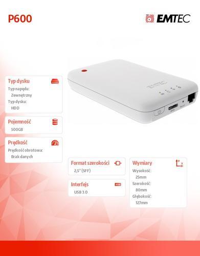 EMTEC Dysk zewnętrzny 500GB WiFi 2,5 USB 3.0 P600