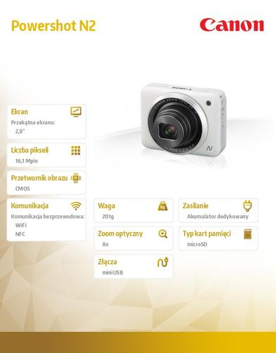 Canon Powershot N2 WHT HS WIFI NFC 9770B002AA