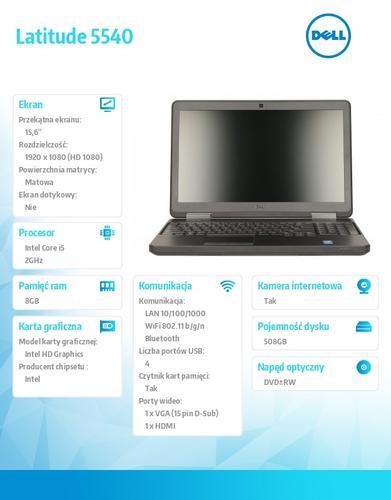 "Dell Latitude 5540 W78.1P (lic 64-bit Win8, nosnik) i5-4310U/500+8GB SSHD/ 8GB/DVD-RW/6Cell/3Y NBD/15'6"" FHD/Backlit"