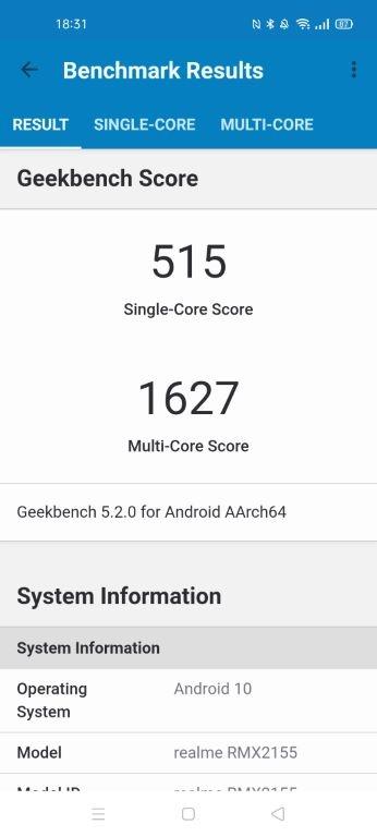 realme 7 - wynik w Geekbench 5