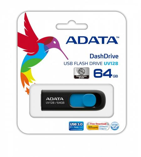 A-Data DashDrive UV128 64GB USB3.0 czarno - niebieski 90MB / 40MB