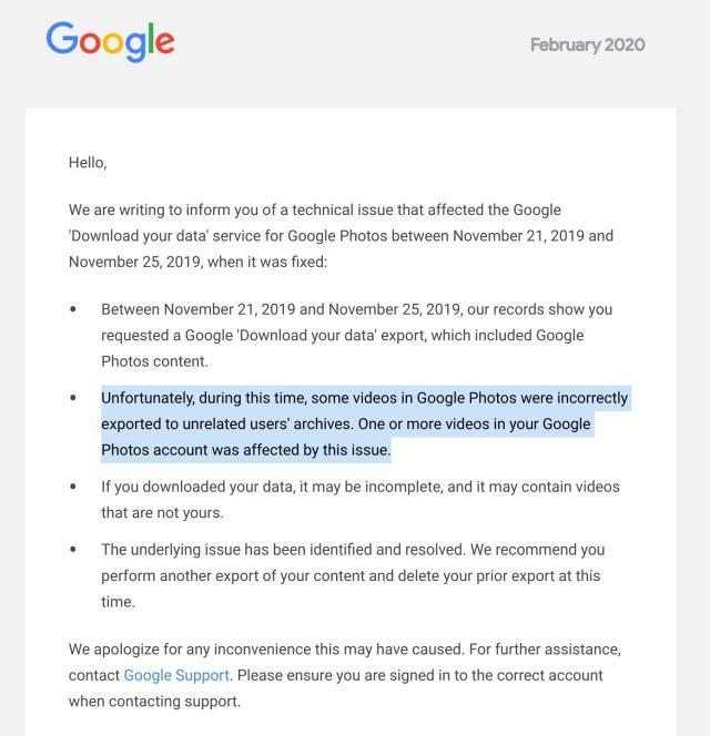 Wyciek danych z Google Photos został zakomunikowany e-mailem