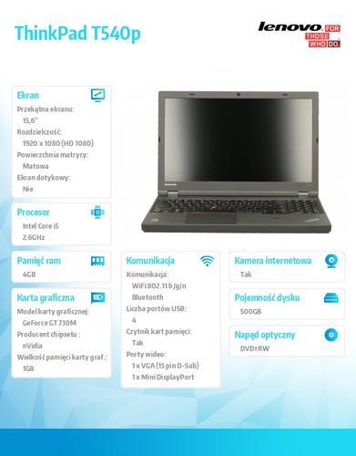 """Lenovo ThinkPad T540p 20BE00B1PB Win7Pro & Win8.1Pro 64-bit i5-4210M/4GB/500GB/GT730M 1GB/DVD Rambo/6c/15.6"""" FHD Led Backlit AG Black, WWAN Ready"""
