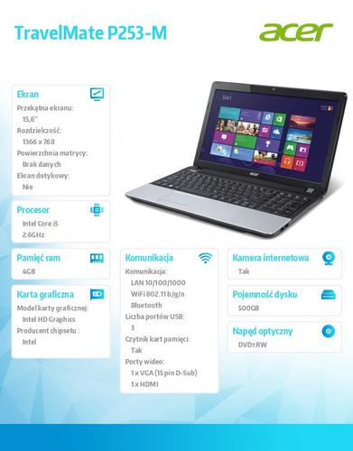 "Acer Travel Mate P253-M 15.6""/i5-3230M/4GB/500GB/DVD RW/WiFi/BT/Win7 Prof (Win8 Prof)"