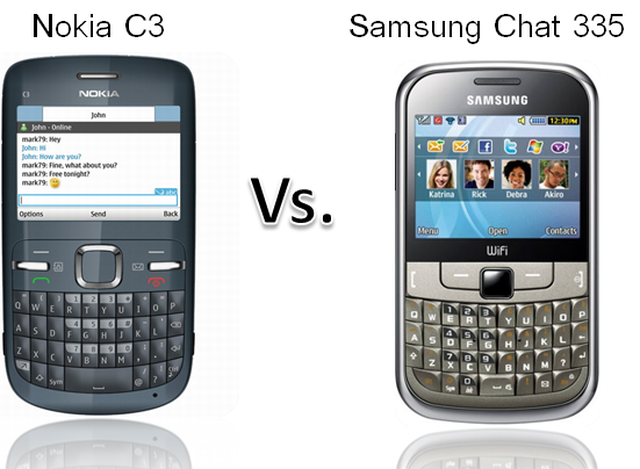 Nokia C3 vs Samsung Ch@t 335