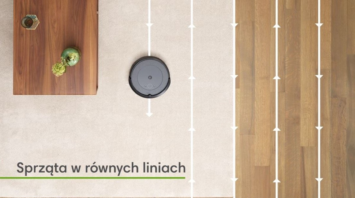Roomba I3 w salonie, sprzątająca po wyznaczonych liniach