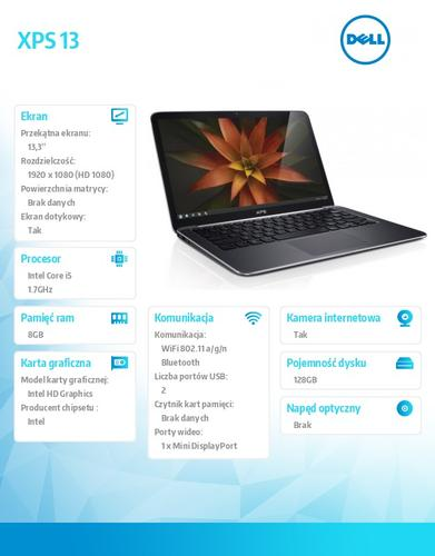 "Dell XPS 13,3"" W8.1Pro i5-4210U/8/128SSD/HD4000/6cell/13,3"" FHD Touch/2YDND"