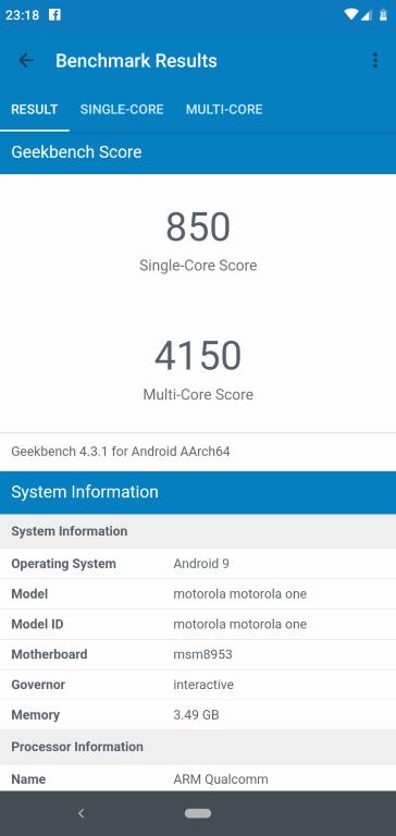 Motorola One - wynik AndroBench