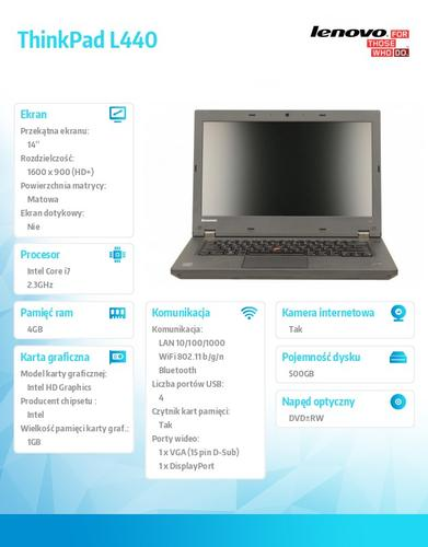 "Lenovo ThinkPad L440 20ASA16FPB W7PR64/Win8.1Pro64 i7-4712MQ/4GB/500GB/HD4600/14.0"" HD+ AG, Mobile Broadband Ready/1 Yr CI"