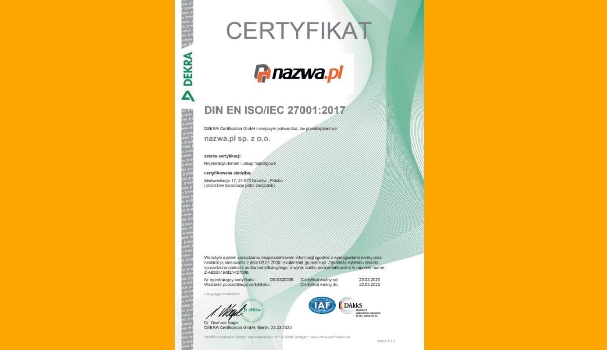 Certyfikat ISO dla Nazwa.pl