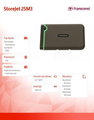"Transcend StoreJet 25 M3 1TB 2.5"" USB3.0 Black - Rubber Case, Anti-Shock"