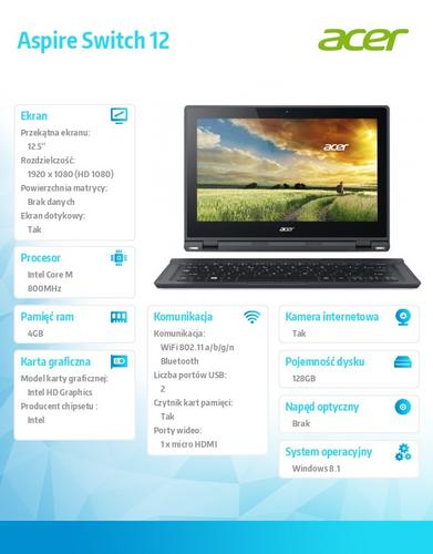 "Acer Switch SW5-271-698U 12.5""FHD IPS Gorilla Glass 3/M-5Y10a/4GB/128GB SSD/HDMI/USB3.0/BT/36Wh 8h/1,45kg/Office 2013 Trial/Windows 8.1/keyboard"