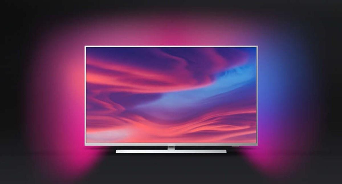 Philips Ambilight telewizor z systemem na czarnym tle