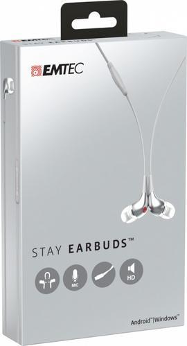 EMTEC Sluchawki z mikrofonem do urządzeń z systemem Android lub Windows, białe