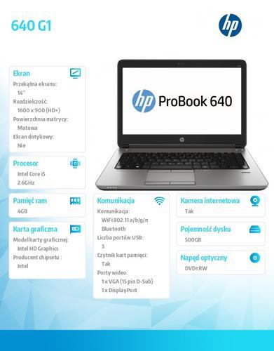 HP 640 G1 i5-4210M W78P 500/4GB/DVRW/14 F1Q66EA