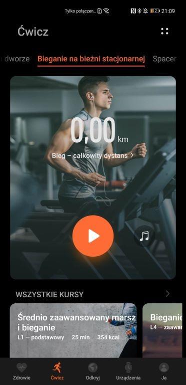 Ekran treningu przed biegiem na bieżni