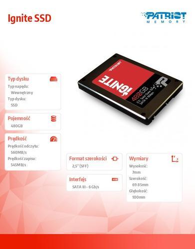 Patriot Ignite SSD 480GB 560/545 MB/s 80k IOPs