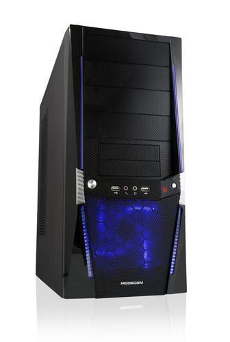 Modecom OBUDOWA KOMPUTEROWA VIPER BLACK/BLUE LED FAN Z ZASILACZEM CARBON 530W