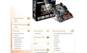 Płyta główna ASRock H110M-DVS R2.0, H110, DualDDR4-2133, SATA3, DVI, D-Sub, mATX