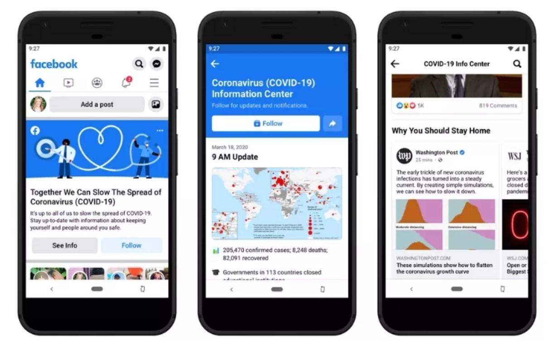 """facebook wprowadza """"centrum wiadomości"""" o pandemii"""