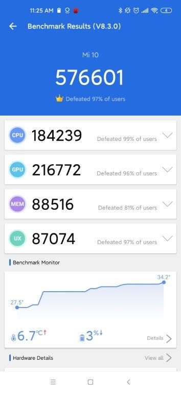 Xiaomi Mi 10 - wynik w Antutu Benchmark