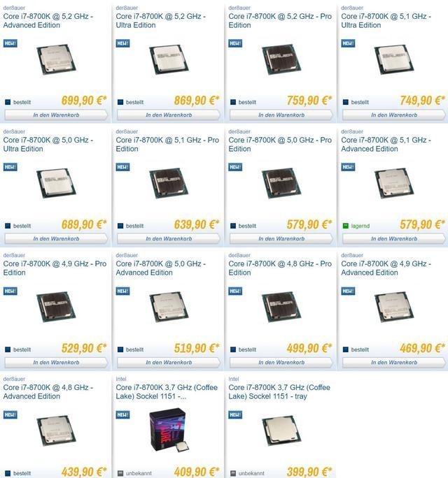 Ceny procesorów I7-8700K Caseking