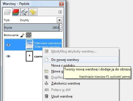 Dodawanie Oderwanej Warstwy GIMP