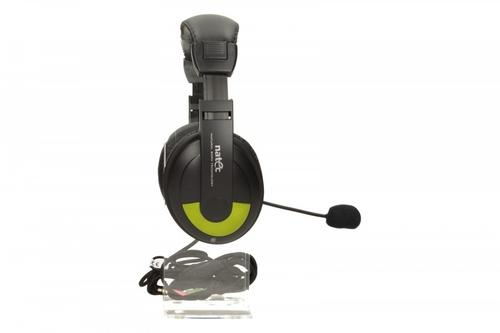 NATEC Słuchawki GRIZZLY + Mikrofon Black-Green