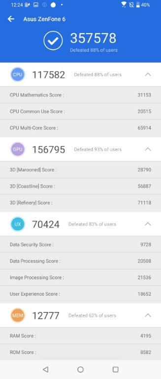 Asus Zenfone 6 - benchmark Antutu
