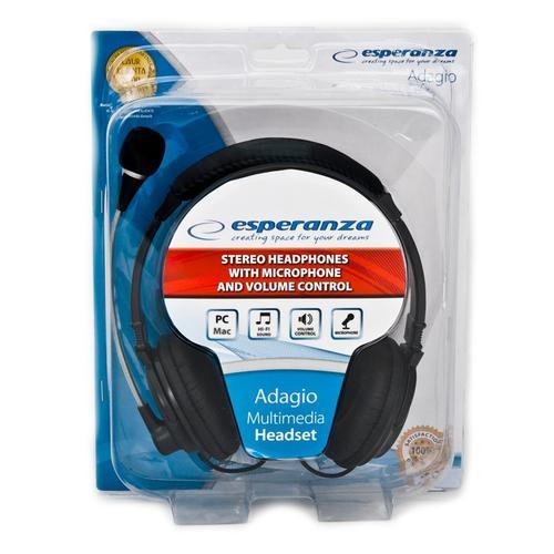 ESPERANZA Słuchawki stereo z mikrofonem i regulacją głośności EH104