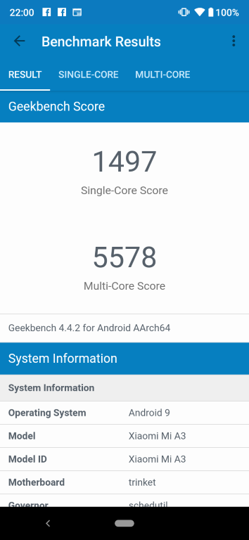 Xiaomi Mi A3 w Geekbench