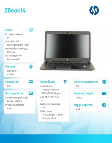 HP ZBook14 i7-4600 W78P 180SSD/8G/14 F0V03EA